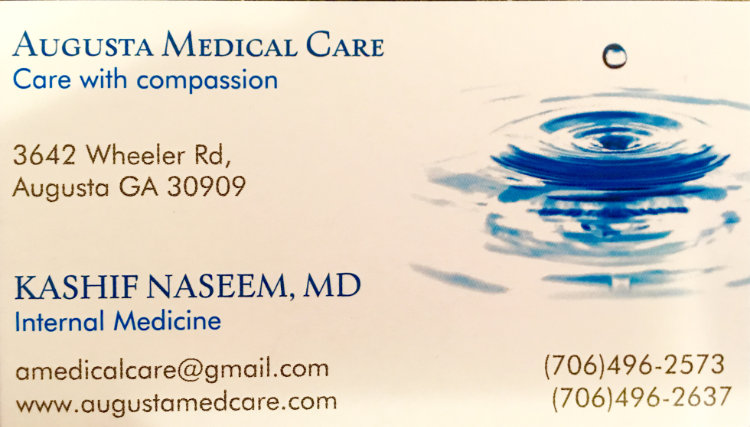 Augusta Medical Care Business Card